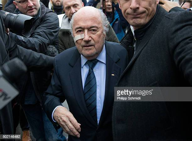 FIFA president Joseph S Blatter arrives for a press conference as reaction to his banishment for eight years by the FIFA ethics committee at FIFA's...
