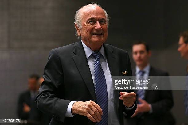 President Joseph S. Blatter arrives for the FIFA Executive Committee meeting at the FIFA Headquarter on May 25, 2015 in Zurich, Switzerland.