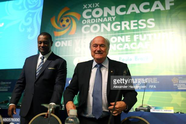 President Joseph S Blatter arrives with Jeffrey Webb CONCACAF President for the CONCACAF confederation congress at Sheraton Sao Paulo WTC hotel on...