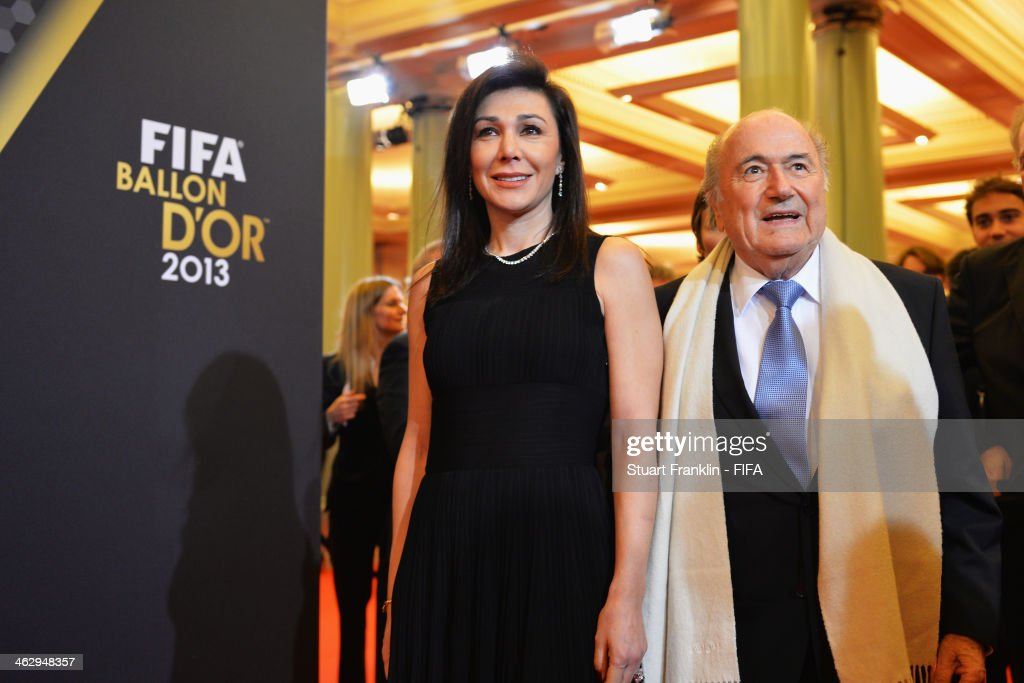 President Joseph S. Blatter arrives with Linda Barras during the FIFA Ballon d'Or Gala 2013 at the Kongresshaus on January 13, 2014 in Zurich, Switzerland.