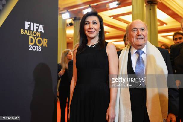 President Joseph S Blatter arrives with Linda Barras during the FIFA Ballon d'Or Gala 2013 at the Kongresshaus on January 13 2014 in Zurich...