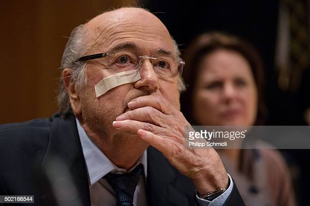 FIFA president Joseph S Blatter attends a press conference as reaction to his banishment for eight years by the FIFA ethics committee at FIFA's...