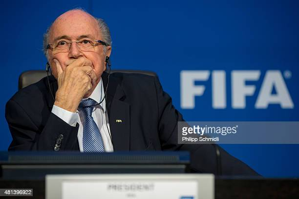 President Joseph S Blatter attends a press conference at the Extraordinary FIFA Executive Committee Meeting at the FIFA headquarters on July 20 2015...