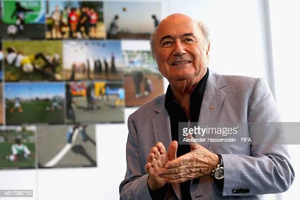 President Joseph S Blatter attends the Football for Hope Festival at Vila Olimpica Mane Garrincha Caju on July 7 2014 in Rio de Janeiro Brazil