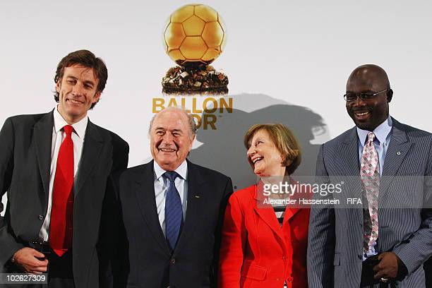 FIFA president Joseph S Blatter attends with MarieOdile Amaury president of the Amaury group Francois Moriniere general director of L'equipe and...