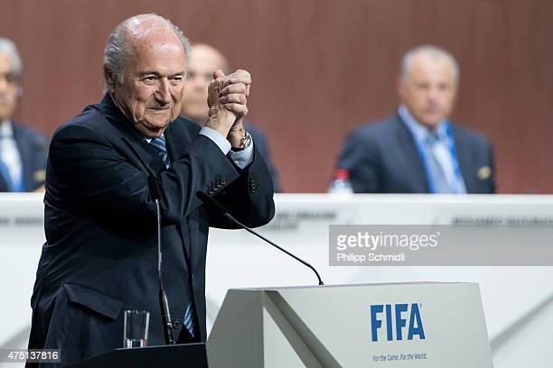 President Joseph S. Blatter celebrates his election during the 65th FIFA Congress at Hallenstadion on May 29, 2015 in Zurich, Switzerland.