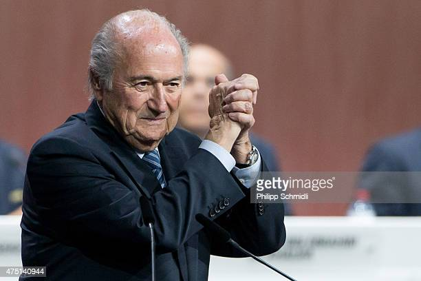 President Joseph S Blatter celebrates his election during the 65th FIFA Congress at Hallenstadion on May 29 2015 in Zurich Switzerland