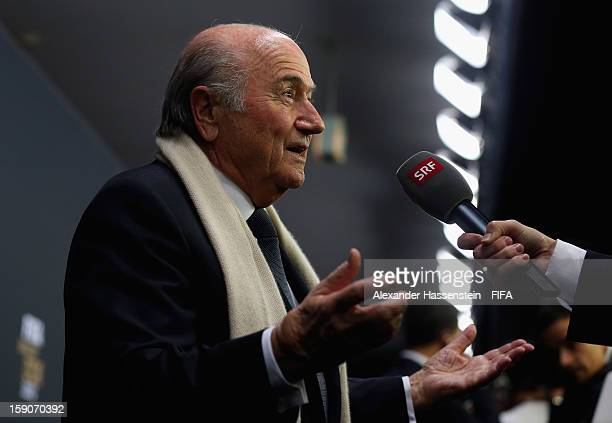 FIFA president Joseph S Blatter is interviewed during the red carpet arrivals at the FIFA Ballon d'Or Gala 2012 at the Kongresshaus on January 7 2013...