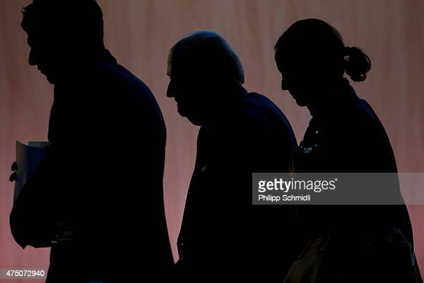 President Joseph S Blatter leaves the stage after the morning session at the 65th FIFA Congress at Hallenstadion on May 29 2015 in Zurich Switzerland