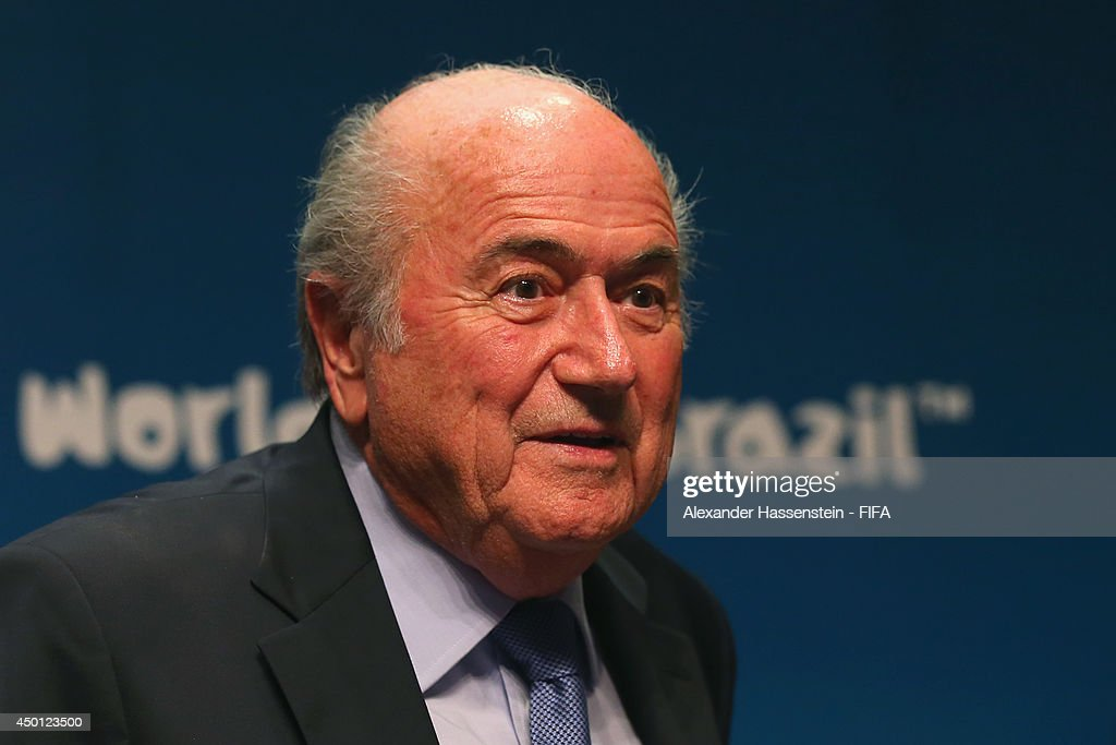 President Joseph S. Blatter looks on after a Press Conference after the 2014 FIFA World Cup Organising Committee meeting at the Grand Hyatt Sao Paulo Hotel on June 5, 2014 in Sao Paulo, Brazil.