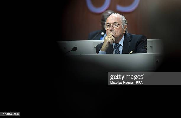President Joseph S Blatter looks on during the 65th FIFA Congress at the Hallenstadion on May 29 2015 in Zurich Switzerland