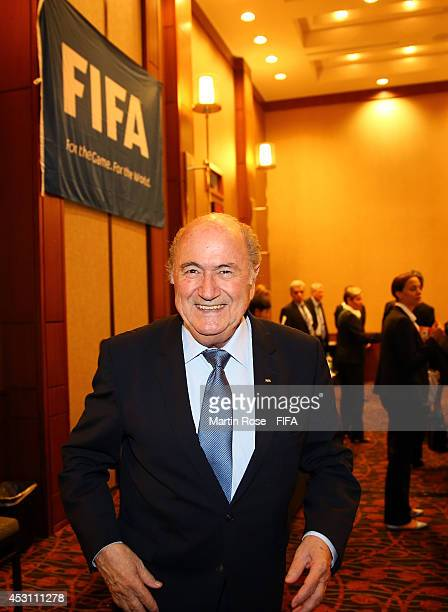 President Joseph S Blatter looks on during the Organising Committee Meeting for the FIFA U20 Women's World Cup Canada 2014 at the Le Westin Montreal...