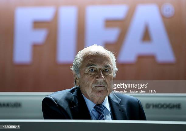 President Joseph S Blatter looks on prior to the 65th FIFA Congress at the Hallenstadion on May 29 2015 in Zurich Switzerland