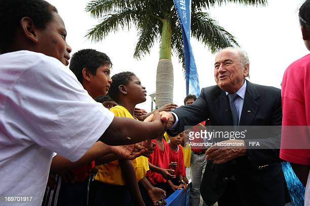 President Joseph S Blatter meets children which take part in the FIFA 11 For Health programe prior to the the 63rd FIFA Congress at the Swami...