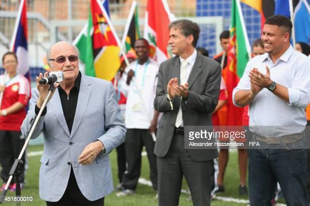 President Joseph S Blatter opens the Football for Hope Festival at Vila Olimpica Mane Garrincha Caju on July 7 2014 in Rio de Janeiro Brazil