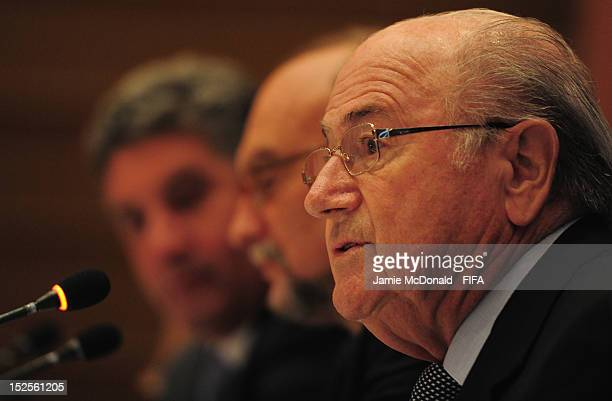 President Joseph S Blatter opens the International Sports Press Association Young Reporters Program on September 22 2012 in Baku Azerbaijan