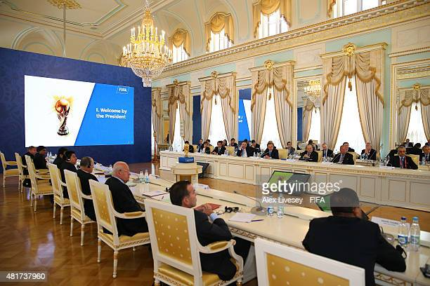 President Joseph S. Blatter opens the Russia 2018 FIFA World Cup Organising Committee Meeting at Konstantin Palace on July 24, 2015 in Saint...