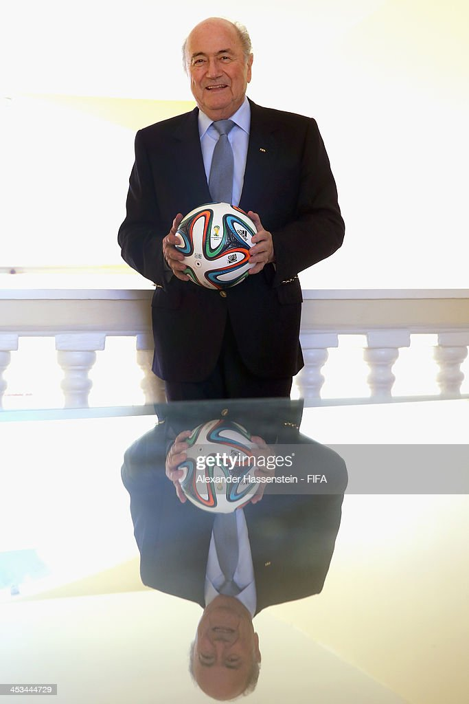 President Joseph S. Blatter poses with a adidas brazuca, the Official Match Ball for the 2014 FIFA World Cup Brazil at Costa do Sauipe Resort on December 3, 2013 in Costa do Sauipe, Bahia, Brazil.