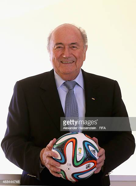 President Joseph S Blatter poses with a adidas brazuca the Official Match Ball for the 2014 FIFA World Cup Brazil at Costa do Sauipe Resort on...