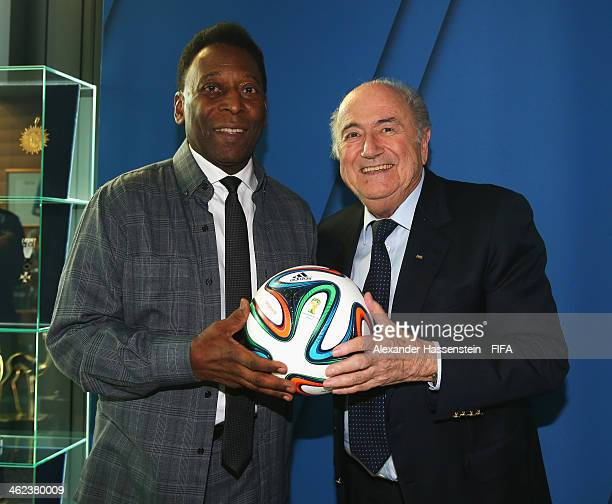 President Joseph S. Blatter poses with former Brazilian footballer Pele prior to the FIFA Ballon d'Or Gala 2013 at FIFA headquarters on January 13,...