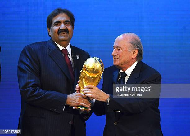 President Joseph S Blatter presents Qatar for the hosts of 2022 during the FIFA World Cup 2018 2022 Host Countries Announcement at the Messe...