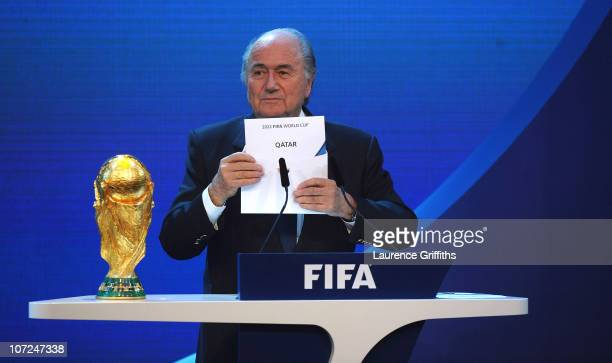 President Joseph S Blatter reveals Qatar as holders for the 2022 World Cup at the Messe on December 2 2010 in Zurich Switzerland