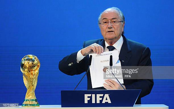 President Joseph S Blatter reveals Russia as holders for the 2018 World Cup at the Messe on December 2 2010 in Zurich Switzerland