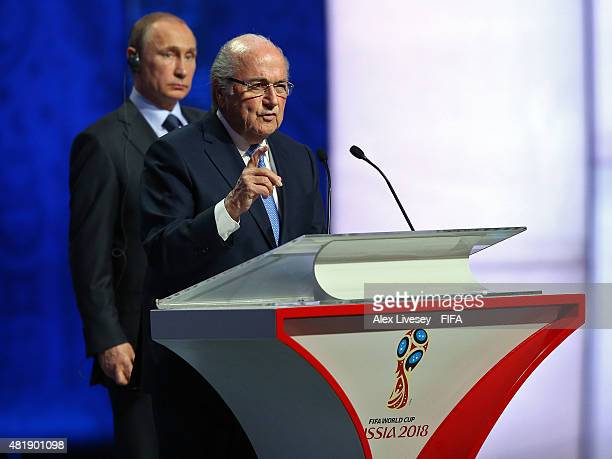 President Joseph S Blatter speaks during the Preliminary Draw of the 2018 FIFA World Cup in Russia at The Konstantin Palace on July 25 2015 in Saint...