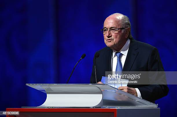 President Joseph S. Blatter speaks during the Preliminary Draw of the 2018 FIFA World Cup in Russia at The Konstantin Palace on July 25, 2015 in...