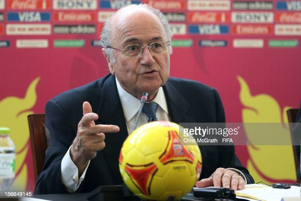President Joseph S. Blatter speaks to the media during a press conference at the St Regis Hotel on November 18, 2012 in Bangkok, Thailand.