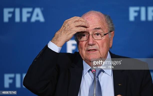 President Joseph S Blatter speaks to the press during the FIFA Executive Committee press conference at Sofitel Marrakech on December 19 2014 in...