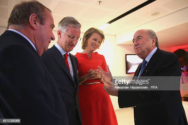 President Joseph S Blatter talk to King Philippe of Belgium Queen Mathilde and FIFA Executive Committee member Dr Michel D'Hooghe prior to the 2014...