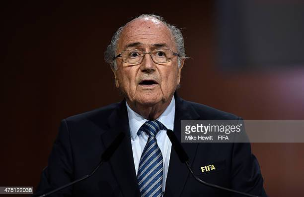 President Joseph S Blatter talks during the 65th FIFA Congress at the Hallenstadion on May 29 2015 in Zurich Switzerland