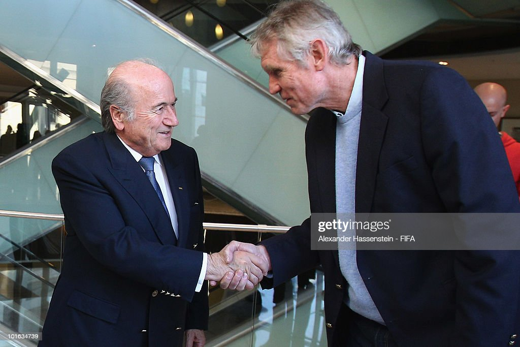 FIFA president Joseph S. Blatter (L) talks to Bart Dorrestein, Chairman of Legacy Group, during opening of a new bridge building at 'The Michelangelo' hotel on June 4, 2010 in Johannesburg, South Africa.