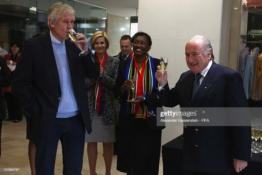 FIFA president Joseph S. Blatter (R) talks to Bart Dorrestein (L), Chairman of Legacy Group, during the opening of a new bridge building at 'The Michelangelo' hotel on June 4, 2010 in Johannesburg, South Africa.