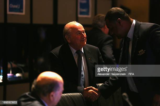 President Joseph S Blatter talks to CONCACAF President Jeffrey Webb prior the FIFA Executive Committee Meeting at the Intercontinental hotel on May...