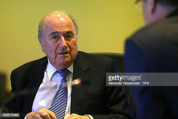 President Joseph S Blatter talks to FIFA Secretary General Jerome Valcke prior to a Meeting of the FIFA Executiv Committee at Costa do Sauipe Resort...