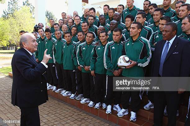 FIFA president Joseph S Blatter talks to referees after the welcome and opening reception for the 2010 FIFA World Cup South Africa referees at the...