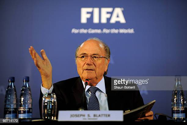 President Joseph S. Blatter talks to the media during a press conference on December 3, 2009 in Robben Island, South Africa.