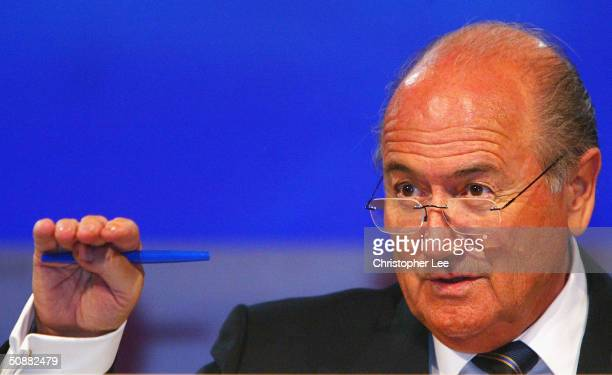 President Joseph S Blatter talks to the press during the 54th Ordinary FIFA Congress press conference at the Carrousel du Louvre on May 21 2004 in...