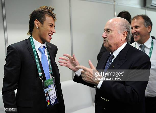 President Joseph S Blatter talks with Brazil's Neymar before the Preliminary Draw of the 2014 FIFA World Cup at Marina Da Gloria on July 30 2011 in...