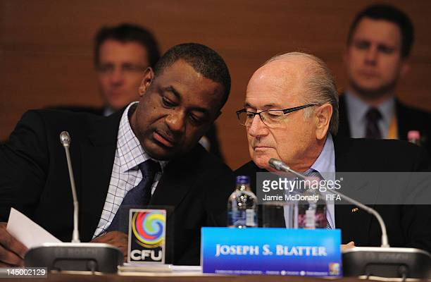 FIFA president Joseph S Blatter talks with the Chairman of the CFU Normalisation Committee Jeffrey Webb during the XXXV CFU Ordinary Congress at the...