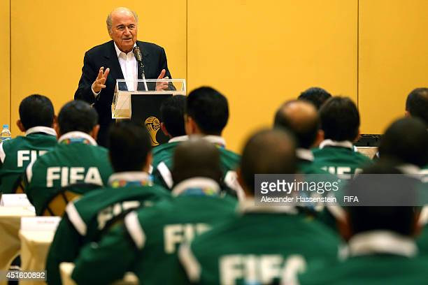 President Joseph S Blatter visits the 2014 FIFA World Cup Referees at the 2014 FIFA World Cup Referees Head Quater Windsor Barra Hotel on July 2 2014...
