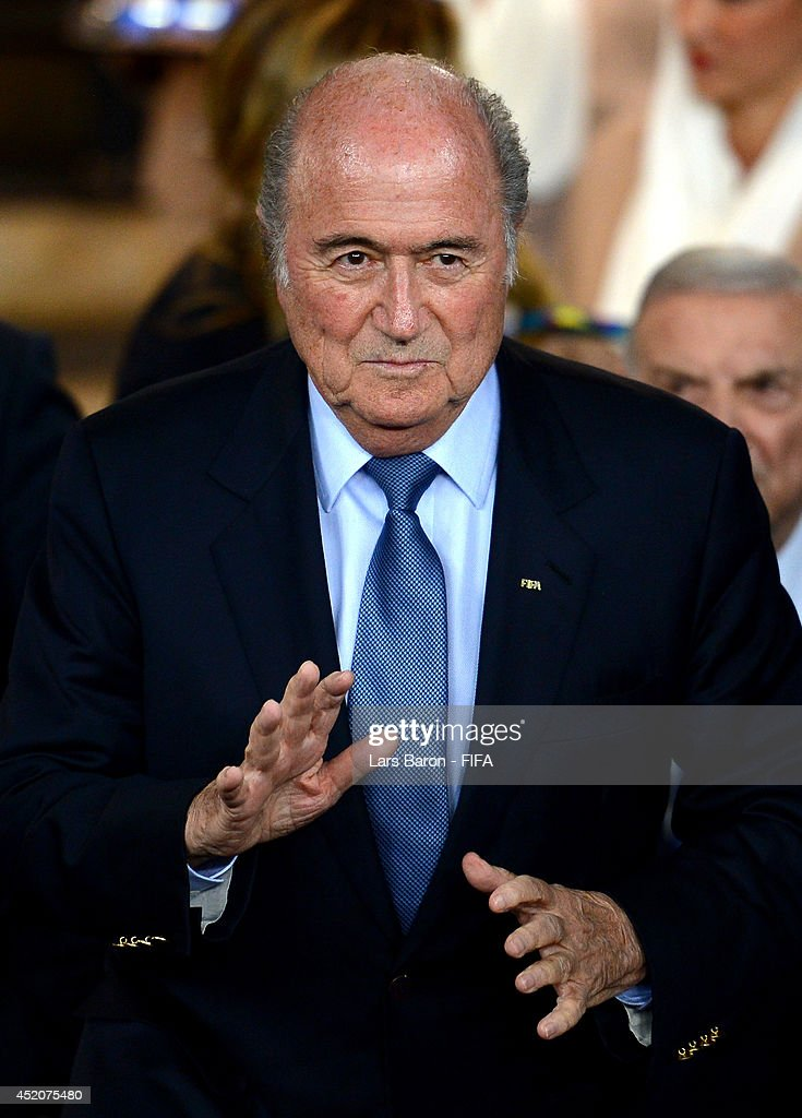 President Joseph S. Blatter walks in the tunnel to attend the medal ceremony after the 2014 FIFA World Cup Brazil 3rd Place Playoff match between Brazil and Netherlands at Estadio Nacional on July 12, 2014 in Brasilia, Brazil.