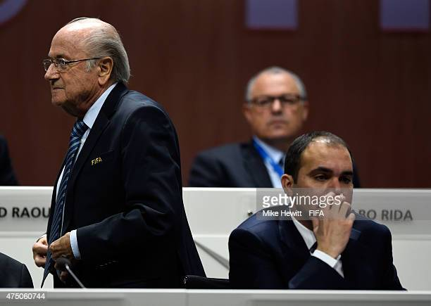 President Joseph S Blatter walks past FIFA Presidential candidate HRH Prince Ali Bin Al Hussein of Jordan during the 65th FIFA Congress at the...
