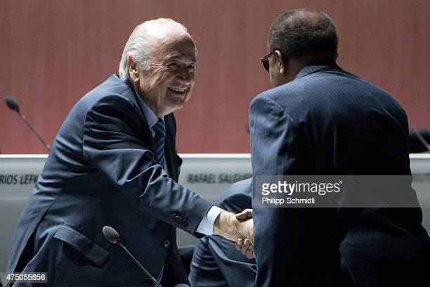President Joseph S Blatter welcomes a guest prior to the 65th FIFA Congress at Hallenstadion on May 29 2015 in Zurich Switzerland