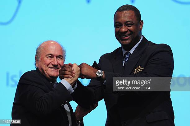 President Joseph S Blatter welcomes CONCACAF President Jeffrey Webb to the FIFA family during the 62nd FIFA Congress at the Hungexpo on May 25 2012...