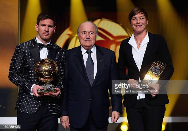 President Joseph S Blatter with Ballon d'Or winner Lionel Messi and FIFA Women's World Player of the Year Award winner Abby Wambach of the USA during...