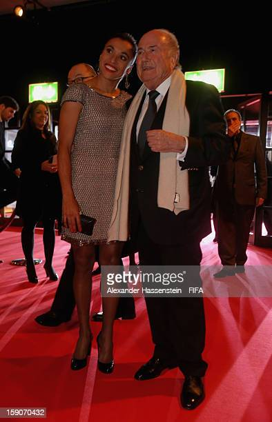 FIFA president Joseph S Blatter with Marta of Brazil during the red carpet arrivals at the FIFA Ballon d'Or Gala 2012 at the Kongresshaus on January...