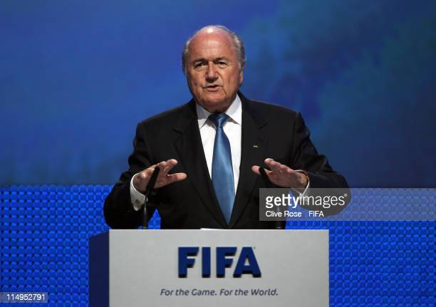 President Joseph SBlatter addresses the delegates during the Opening Ceremony of the 61st FIFA Congress at Hallenstadion on May 31 2011 in Zurich...